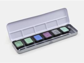 FINETEC Aquarelverf - Pearlesescent Colours palet F0602S - 5 kleuren + 1 flipflop