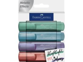 Markeerstiften Faber-Castell - Metallic set van 4 - koper, groen, blauw en paars