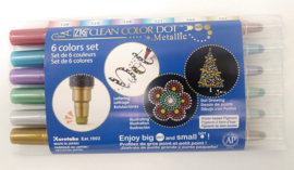 Zig Clean Color Dot Metallic - set van 6