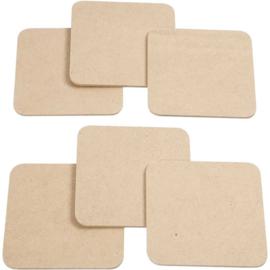 Houten onderzetters vierkant 10 x 10 cm- set van 6