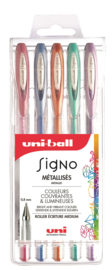 Uni-ball Signo Gelpennen metallic UM-120 -  0,8 mm - set van 5
