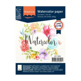 Florence Aquarelpapier texture off white - 15 vellen 300 grams papier - A5