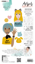 Studio Light Clear Stamp & Die Cut A6 Karin Joan - Tasha Missees  Collection nr.04