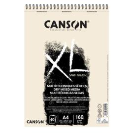 Canson XL Dry Mixed Media papierblok - 40 vellen - Sand Grain Natural - A4
