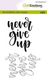 CraftEmotions clearstamps A6 - handletter - never give up - set van 2