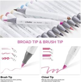 Ohuhu Alcohol based Art markers Brush & chisel - Pastel Colors - set van 48 + Blender + etui