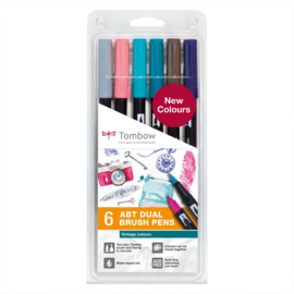 Tombow ABT Dual Brush Pen - set van 6 nieuwe kleuren - Vintage colours