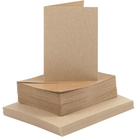 CARD MAKING dubbele blanco Kaarten 10,5 x 15 cm & enveloppen - Bruin papier - set van 50