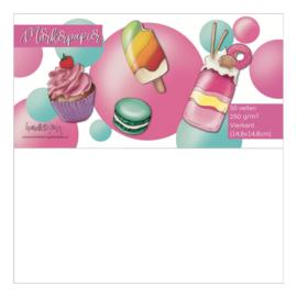 HLDWZ alcohol marker papier 14,8 x 14,8 cm - 50 vellen - 250 grams Wit