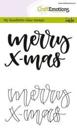 CraftEmotions clearstamps A6 - handletter - Merry xmas - set van 2