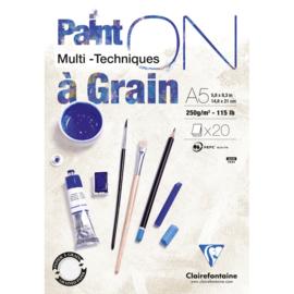 Clairefontaine Paint-ON Multi-Technique a Grain mixed media A5 - 20 vellen - 250 grams - wit papier