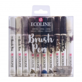 Talens Ecoline Brush Pen - set van 10 - Grijs