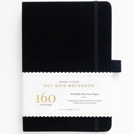 Archer & Olive bulletjournal/Notitieboek A5 - 160 pagina's - Dotted - Black