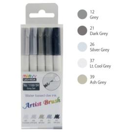Marvy Uchida Artist Brush Pen - set van 5 - Grey
