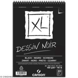 Canson XL Dessin Noir Schetsboek - 20 vellen zwart papier - A5