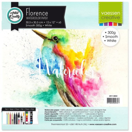 Florence Aquarelpapier smooth Intense White - 5 vellen 300 grams papier - 30,5 x 30,5 cm