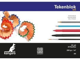 Kangaro Tekenblok Kangaro A4 - 24 vellen - 200 grams wit papier