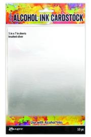 Tim Holtz alcohol ink Surfaces Brushed - 12,7 x 17,8cm -10 vellen - Silver