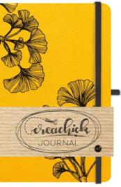Creachick Journal A5 - 224 pagina's crème wit - Dotted - okergeel   +GRATIS HLDWZ POTLOOD