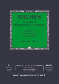 Arches Aquarelpapier - cold pressed - 300 grams - 12 vellen - A4