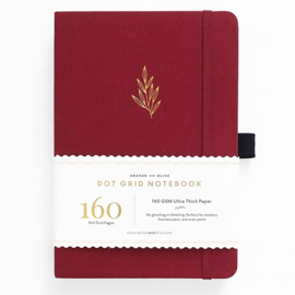 Archer & Olive bulletjournal/Notitieboek A5 - 160 pagina's - Dotted - Red Leaf