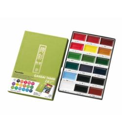 Kuretake Aquarelverf - Gansai Tambi Water Colours Brush Set  - set van 18