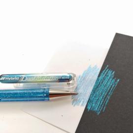 Pentel Hybrid Dual Metallic gelpen K110 1,0 mm - Blauw grijs / Metallic Blauw & Zilver