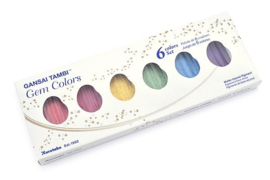 ZIG Aquarelverf - Gansai Tambi Sets - Gem Colors, 6 kleuren