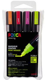 Uni Posca Paintmarker PC-5M-4A ass10 - set van 4 (1.8 - 2.5 mm) Neon kleuren