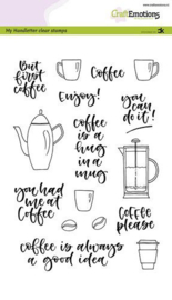 CraftEmotions clearstamps A5 - Handletter - Coffee please (Eng) - Carla Kamphuis