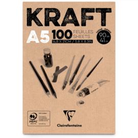 Clairefontaine Kraft A5 - 100 vellen - 90 gram - kraft papier