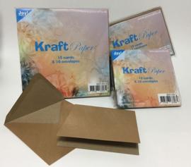 Joy Crafts kaarten & enveloppen 12 x 12 cm - kraft papier - set  van 10