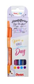 Brushpen Pentel Brush Sign Pen SES15C Handlettering - set van 4 - Set 2
