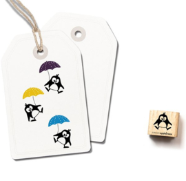 Cats on Appletrees - Houten stempel - 15x15mm - Ole the Penguin jumping