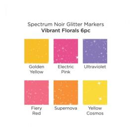 Spectrum Noir glitter markers - Vibrant Florals - set van 6