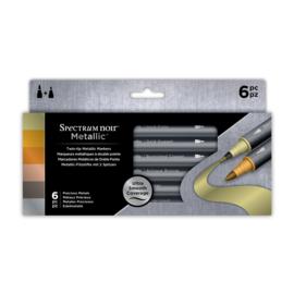 Spectrum Noir Metallic Markers – Precious Metals - fijne punt en een Brushpen punt -  set van 6