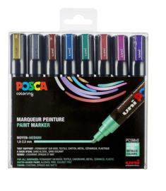 Uni Posca Paintmarker Metallic kleuren PC-5M-8metal09 - set van 8 (1.8 - 2.5 mm)