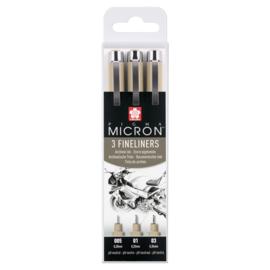 Sakura Pigma Micron Fineliners Zwart  005, 01 en 03 - set van 3