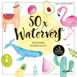 50x Waterverf - Avocado, Alpaca en co - in 5 stappen schilderen