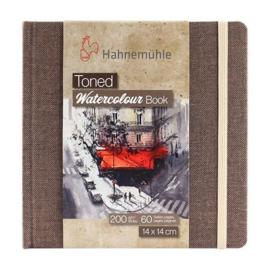 Hahnemühle Beige toned watercolour book 14 x 14 cm - 60 pagina's - Bruine kaft - Beige papier