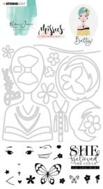 PRE-ORDER: Studio Light Clear Stamp & Die Cut A6 Karin Joan - Betty Missees  Collection nr.03 - Basis set