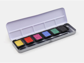 FINETEC Aquarelverf - Pearlesescent Premium High Chroma Colours palet F7002- 6 kleuren