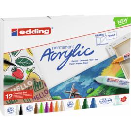 Edding Acrylmarker creative set basis - set van 12 + A4 acrylblok