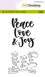 CraftEmotions clearstamps A6 - handletter - Peace Love & Joy - set van 2