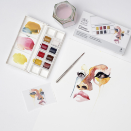 Winsor & Newton Cotman Aquarelverf - pocket set van 8 + penseel - Portrait