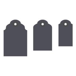 Vaessen Creative - Etiketten label pons 3 in 1 - 3,8 cm, 5,1 cm en 6,4 cm - ronde hoeken