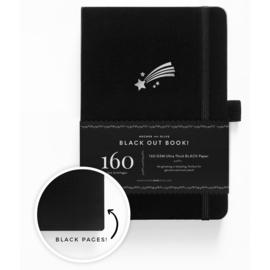 Archer & Olive THE BLACKOUT BOOK bulletjournal/Notitieboek A5 Shooting Star - 160 pagina's - Dotted - Zwart Papier