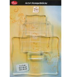 Viva Acrylic Stempelbloks transparant - set van 3
