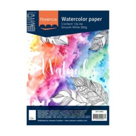 Florence Aquarelpapier smooth Intense White - 12 vellen 200 grams papier - A4