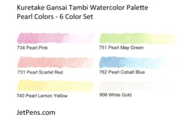 ZIG Aquarelverf - Gansai Tambi Sets - Pearl Colors, 6 kleuren